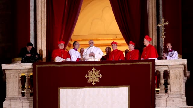 jorge mario bergoglio first appearance as pope francis at the conclave of cardinals have elected a new pope to lead the world's catholics at st.... - pope stock videos & royalty-free footage
