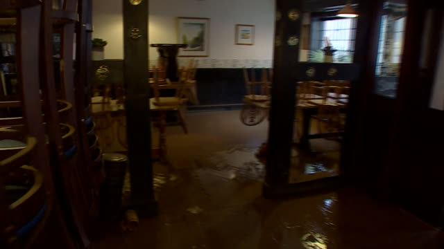 a pub damaged by flooding in hereford - utensil stock videos & royalty-free footage