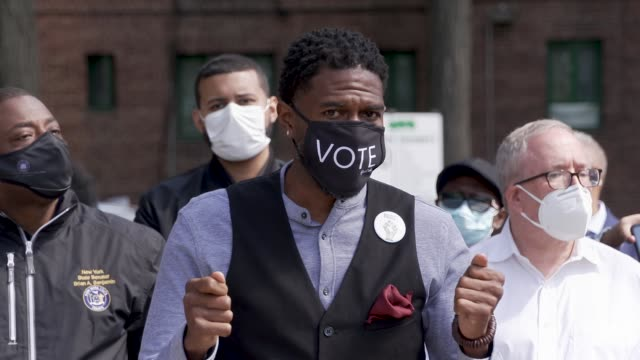 public advocate jumaane d williams elected officials and community leaders gather to push back against voter suppression from partisan bronx board of... - partisan politics stock videos & royalty-free footage