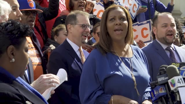 public advocate letitia a 'tish' james speaks during rally riders alliance and community service society of new york hosted a rally on the steps of... - around the fair n.y stock videos & royalty-free footage