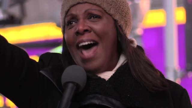 Public Advocate Letitia James addresses Haitian community in Times Square at Rally Against Racism calling out President Trump's racism