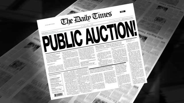public auction! - newspaper headline (intro + loops) - everything must be sold stock videos & royalty-free footage