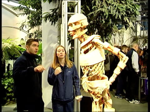vidéos et rushes de public autopsy controversy lib = clear berlin people looking at exhibit in body worlds exhibition body hanging in exhibition - autopsie