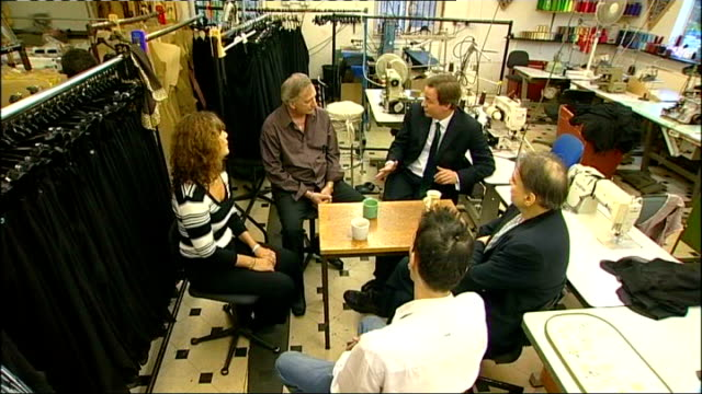 public borrowing reaches record level as country enters recession david cameron mp talking to small business owners in clothes factory - borrowing stock videos & royalty-free footage