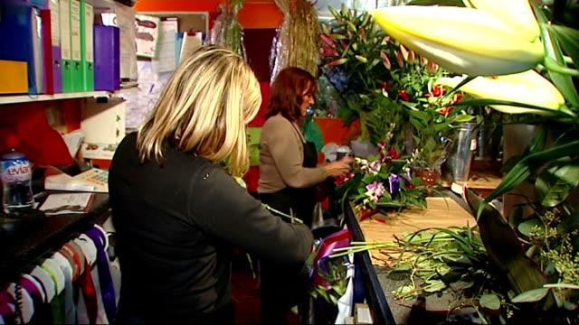 vídeos de stock, filmes e b-roll de public borrowing reaches record level as country enters recession women arranging flowers at david cameron's local florist's florist trimming stalks... - bouquet