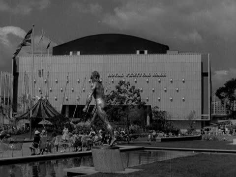 public gardens surround the royal festival hall on the south bank of the river thames 1951 - royal festival hall stock videos and b-roll footage