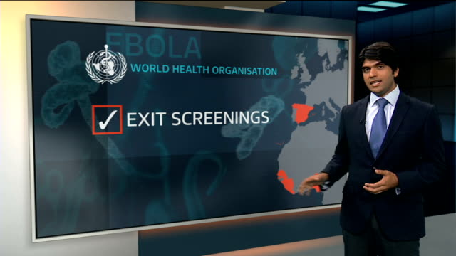 Public Health England say there are no plans to screen for Ebola in UK ENGLAND London GIR INT Reporter to camera with VIDEO Dr Paul Cosford interview...