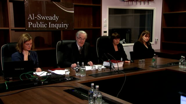 public inquiry clears british soldiers of allegations of murder and torture; sir thayne forbes speaking to press sir thayne forbes press conference... - no doubt band stock videos & royalty-free footage