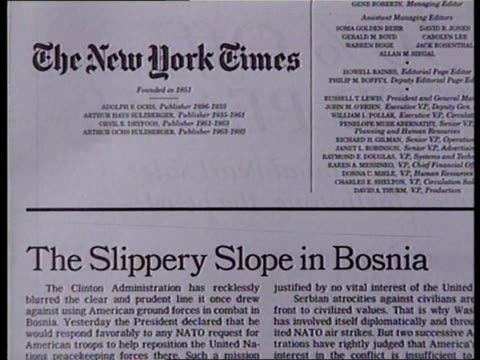 public opinion on balkan crisis itn section of 'new york times' newspaper with heading 'the slippery slope in bosnia' cs pan lr along heading ditto... - ニューヨークタイムズ点の映像素材/bロール