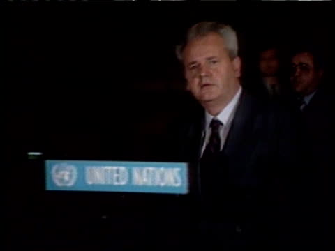 public opinion on balkan crisis itn lib location unknown ms slobodan milosevic along pan rl and up to un mics and speaks at pkf - slobodan milosevic stock videos and b-roll footage