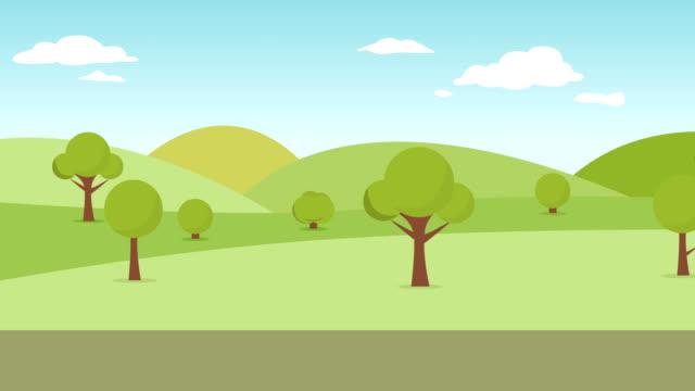 vídeos de stock, filmes e b-roll de parque público. paisagem na animação do parque da cidade. panorama do parque de verão 4k. - public park