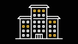 Public School Line Icon Animation with Alpha