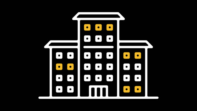 アルファを持つ公立学校ライン アイコン アニメーション - 小学校点の映像素材/bロール