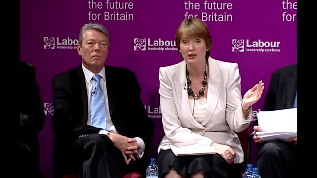 public schools urged to help deprived comprehensives england london int education secretary alan johnson mp sitting on hustings stage as harriet... - alan johnson stock videos & royalty-free footage