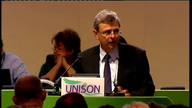 public sector pension reform: unison call to support strike action: prentis speech; - conference, this week let's remember who we are fighting. no... - war stock-videos und b-roll-filmmaterial