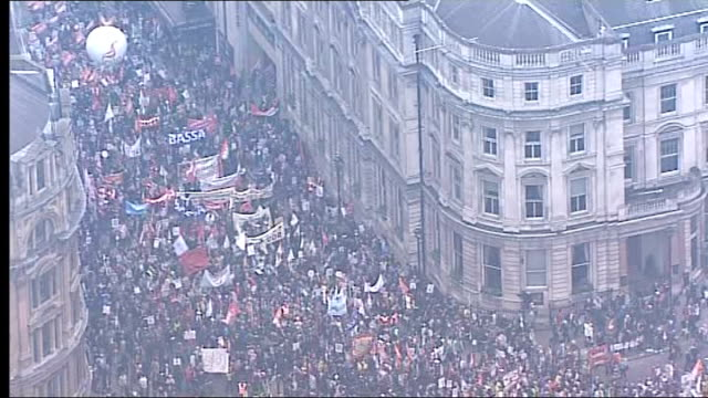 public sector pension reform: unison leader warns of biggest strikes in 100 years; march 2011 london: ext air view / aerial mass march by public... - reform stock-videos und b-roll-filmmaterial