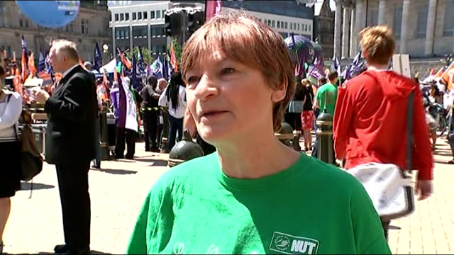 Public sector strike goes ahead / Government plans to clamp down on future strikes Birmingham EXT Christine Blower interview SOT Woman with young...