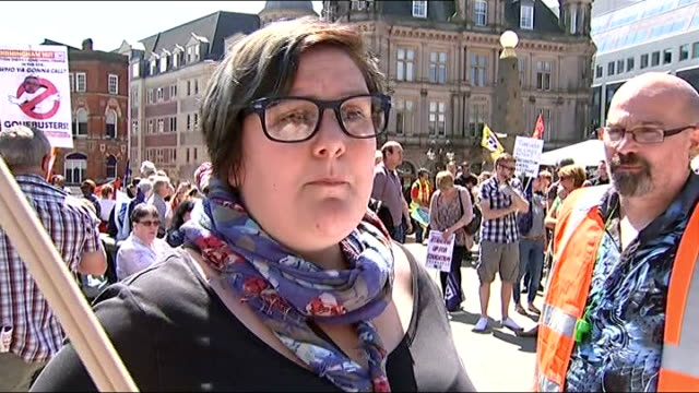 Public sector strike goes ahead / Government plans to clamp down on future strikes Birmingham Vox pops Reporter to camera Striking workers towards on...