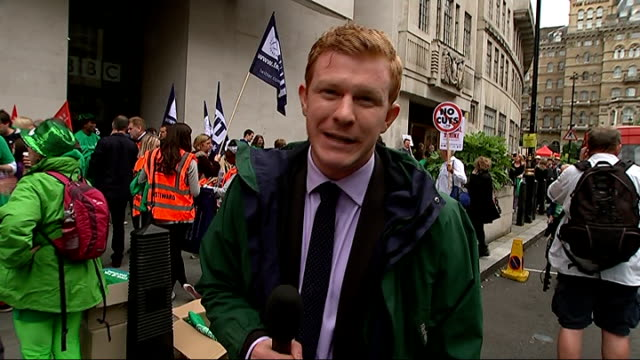 Public sector strike goes ahead / Government plans to clamp down on future strikes ENGLAND London EXT Reporter to camera Alex Kenny interview SOT...