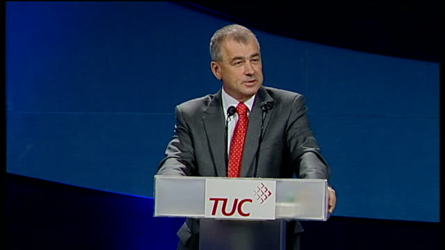 tuc conference brendan barber speech brendan barber speech continued sot so we will need to very clear about how we are going to cut our national... - in the loop 2009 film stock videos and b-roll footage