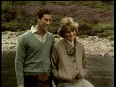 Public support for Royal family LIB Prince Charles and Diana pose by River Dee