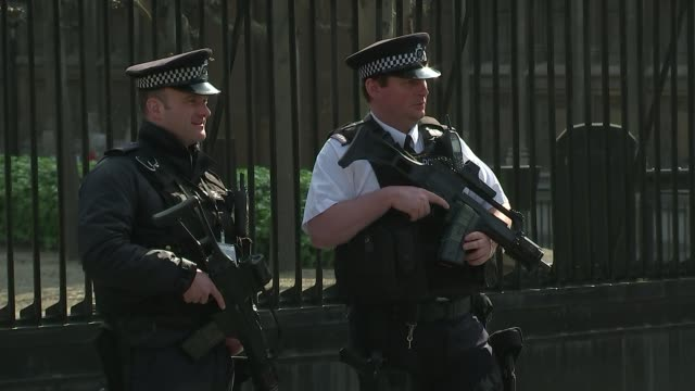 Public to be allowed to appeal against lenient terror sentences R270317011 EXT Various of armed police patrol outside Houses of Parliament/ Anjem...