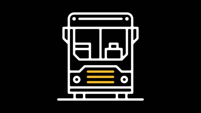 public transport line icon animation with alpha - public transport stock videos & royalty-free footage