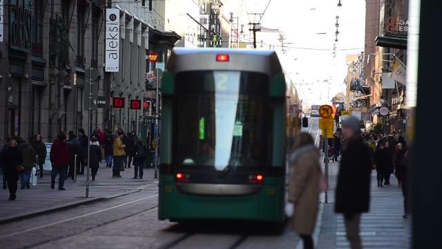 public transport, retro tram in city center of helsinki, finland - bonde stock videos and b-roll footage