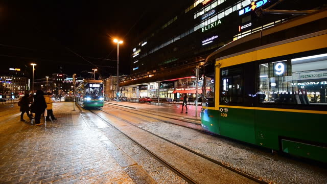 public transport, retro tram in city center of helsinki, finland - tram stock videos & royalty-free footage
