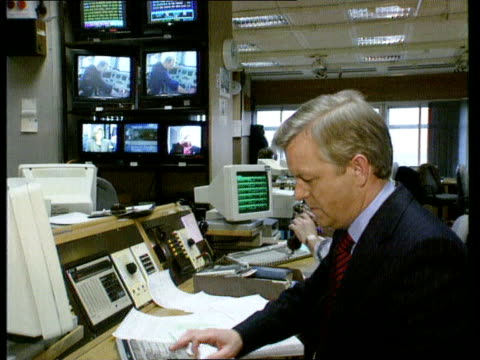 publication of green paper on bbc naf london philip hayton in newsroom gv newsroom ms control room in bbc studios - bbc video stock e b–roll
