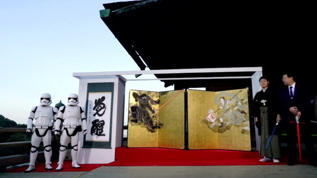 A publicity event for new Star Wars series to be released in Japan on Dec 18 is held at Kyoto's Kiyomizudera temple November 30 2015 in Kyoto Japan...