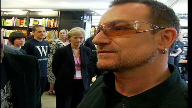 U2 publish new book 'U2 by U2' Reporter asks question Bono interview SOT Discusses Tony Blair achievements for the world's most vulnerable...