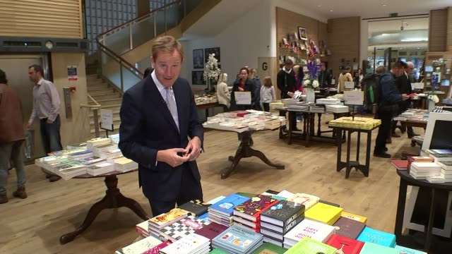eBook sales in decline / physical book sales going up ENGLAND London Reporter to camera in Waterstones bookshop