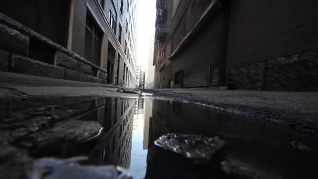 Puddle Reflection Of Alleyway In City
