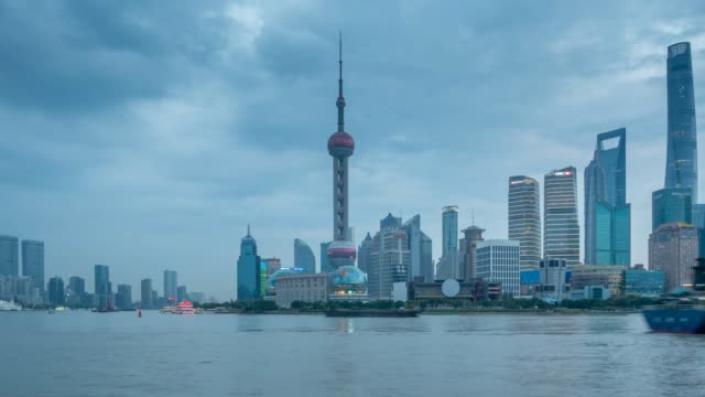 pudong skyline and huangpu river from the bund, shanghai, people's republic of china, asia - oriental pearl tower shanghai stock videos & royalty-free footage