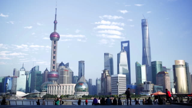 WS Pudong skyline with blue sky, Shanghai, China