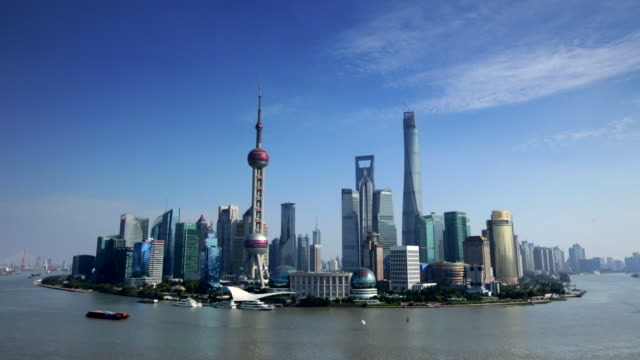 WS Pudong Skyline with Huang Pu River, Shanghai, China