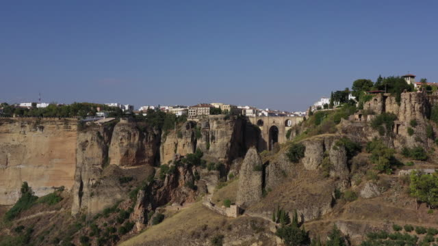 puente nuevo and the canyon / ronda, spain - puente stock videos & royalty-free footage