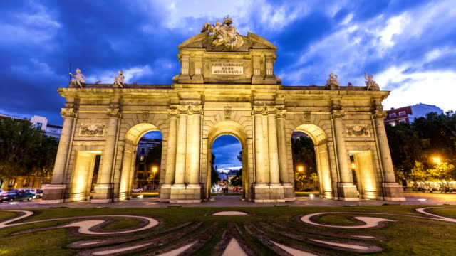 puerta de alcalá in madrid - courtyard stock videos & royalty-free footage