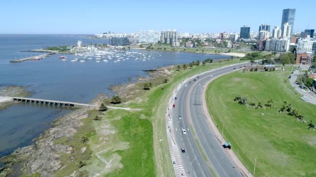 puertito del buceo view, aerial view, drone point of view, montevideo, uruguay - montevideo stock videos & royalty-free footage