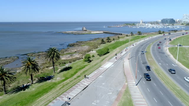 puertito del buceo view, aerial view, drone point of view, montevideo, uruguay - montevideo stock-videos und b-roll-filmmaterial