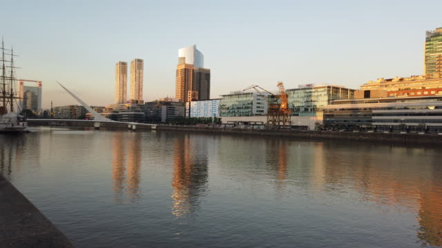 puerto madero and cityscape - puerto madero stock videos & royalty-free footage