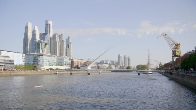 puerto madero buenos aires - puente de la mujer stock videos & royalty-free footage