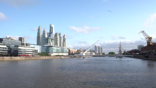 puerto madero cityscape in buenos aires during the day - puerto madero stock videos & royalty-free footage