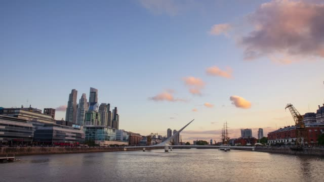 puerto madero in buenos aires at twilight - puerto madero stock videos & royalty-free footage