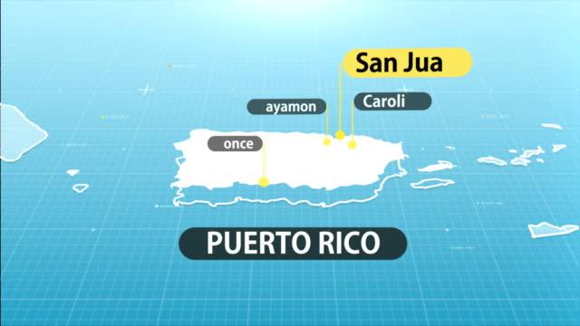 puerto rican map - puerto rico stock videos & royalty-free footage