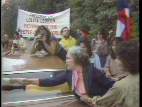 puerto rican nationalist lolita lebron celebrates her release from prison with her supporters in alderson west virginia - puerto rican ethnicity stock videos & royalty-free footage
