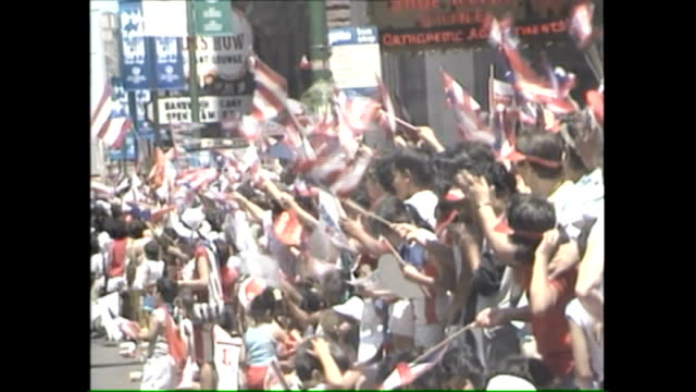wgn puerto rican parade in chicago on june 13 1987 - puerto rican ethnicity stock videos & royalty-free footage