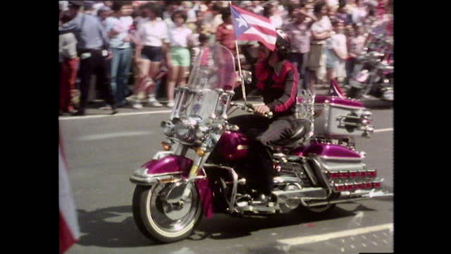 puerto rico day parade along fifth avenue in new york; 1980 - puerto rican ethnicity stock videos & royalty-free footage