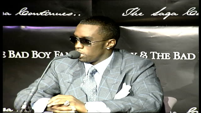 Press conference ITN ENGLAND London INT Hip hop artist Puff Daddy along to press conference / MS interview at press conference SOT talks about new...